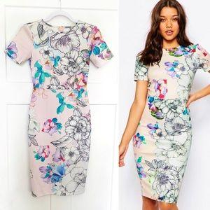 ASOS Floral T-Shirt Scuba Bodycon Midi Dress Sz 2